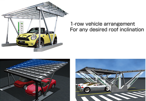 1-row vehicle arrangement For any desired roof inclination